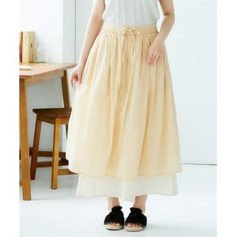 スラブ裾レイヤードスカーチョ (レディースパンツ),pants