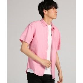 BACK NUMBER フレンチリネンショートスリーブシャツ メンズ ピンク