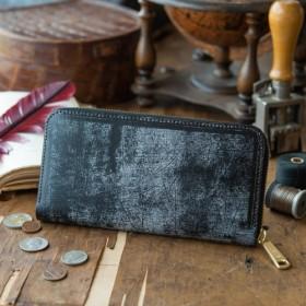 【永久無料保証】エイジングがカッコイイ! トーマスウェア社製 ブライドルレザー ブラック ラウンドファスナー 長財布♪