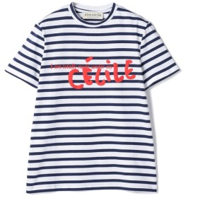 ETRE CECILE / ボーダープリントTシャツ ブルー系その他/X-SMALL(エストネーション)◆レディース Tシャツ/カットソー