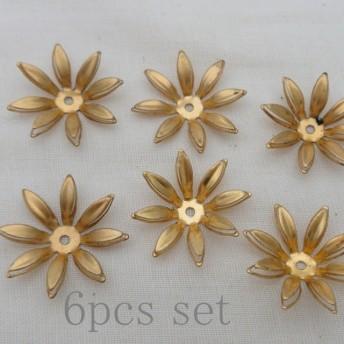 【再販×2】6個セット!真鍮とんがりフラワー ゴールド 花/カボション
