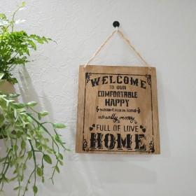 英語 ウェルカムボード 木製 [Welcome to our home]