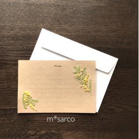花(ミモザ)のクラフトメッセージカード・封筒付き