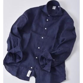 【シップス/SHIPS】 SD:【ALBINI】 ウォッシュド リネン ソリッド ホリゾンタルカラーシャツ(ネイビー)