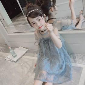子供服 ワンピース キッズ 供服 女の子 ワンピース 半袖 膝丈 夏服 レース ドレス フレアワンピ ベビー ワンピース 姫 可愛い 通学着/通