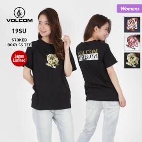 VOLCOM/ボルコム レディース 半袖 Tシャツ ティーシャツ ロゴ 柄 クルーネック 白 ホワイト 黒 ブラック B35219JA