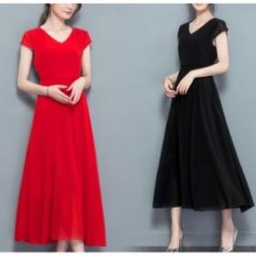 ロングワンピース シフォン 赤 黒 シンプル 上品 半袖