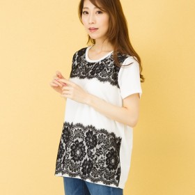 Tシャツ - Be mode 配色レースプルオーバー レディース トップス Tシャツ バイカラー ミセス きれいめ カジュアル ブルー ホワイト 大人可愛い