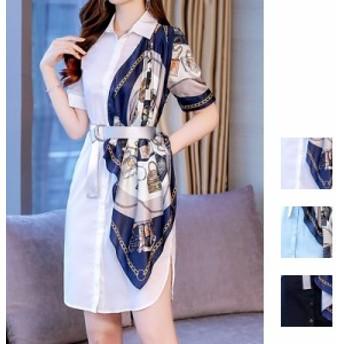 韓国 ファッション レディース ワンピース 夏 春 カジュアル naloF602 異素材ミックス スカーフ アシンメトリー 襟付き ベルトマーク シ