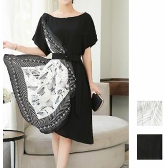 韓国 ファッション レディース ワンピース 夏 春 カジュアル naloF607 スカーフ 異素材ミックス アシンメトリー ベルトマーク ゆるタイト
