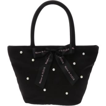 【5,000円以上お買物で送料無料】・グログランパールリボンバッグ