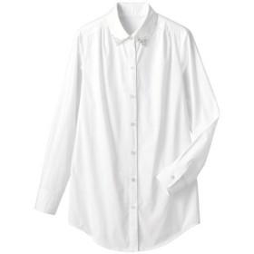 30%OFF【レディース】 衿ビジュー付ロングシャツ - セシール ■カラー:オフホワイト ■サイズ:M,L,LL,S