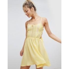 エイソス レディース ワンピース トップス ASOS DESIGN Broderie Tie Side Beach Dress Yellow
