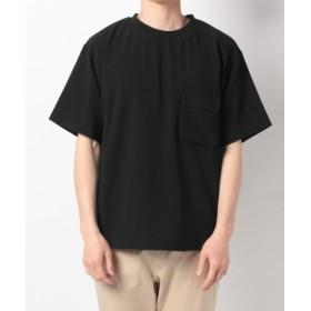 (B.C STOCK/ベーセーストック)TRシアサッカーRIBPOシャツ/メンズ ブラック