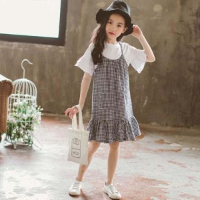 女の子 吊りスカート Tシャツ 二点セット チェック柄 ワンピース ホワイト Tシャツ トップス 膝丈 薄手