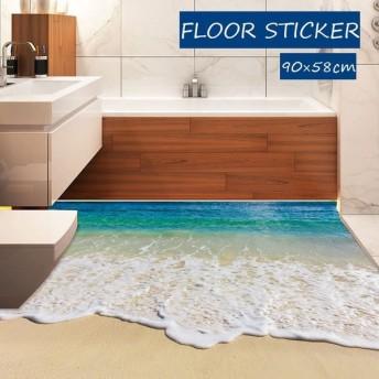 フロアステッカー ウォールステッカー インテリア 模様替え 床 海 波 ビーチ お風呂 トイレ 部屋 子供部屋 おしゃれ DIY