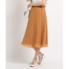INDIVI(インディヴィ) [L]【マシンウォッシュ】ブライトスパンボイル ラップ風スカート