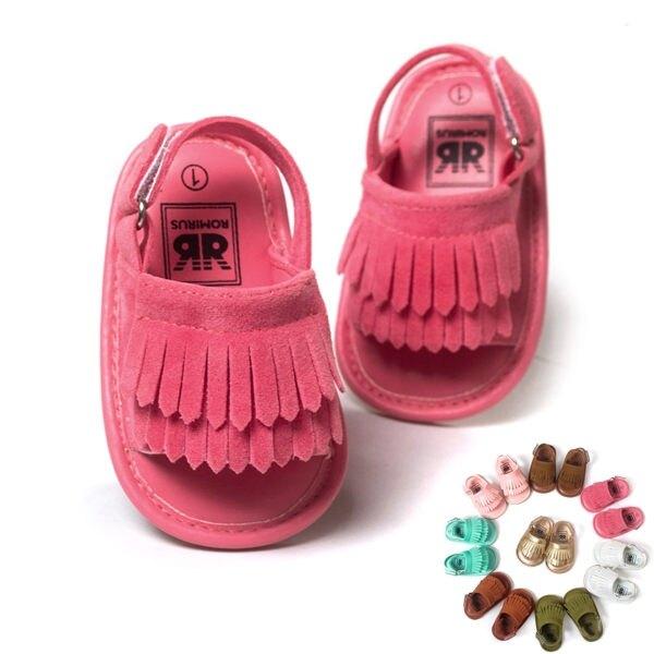 童鞋 軟膠片流蘇涼鞋  兒童鞋 學步鞋 防滑 嬰兒鞋 室內鞋 0~24M 橘魔法 現貨 寶寶鞋【p0061153893138】