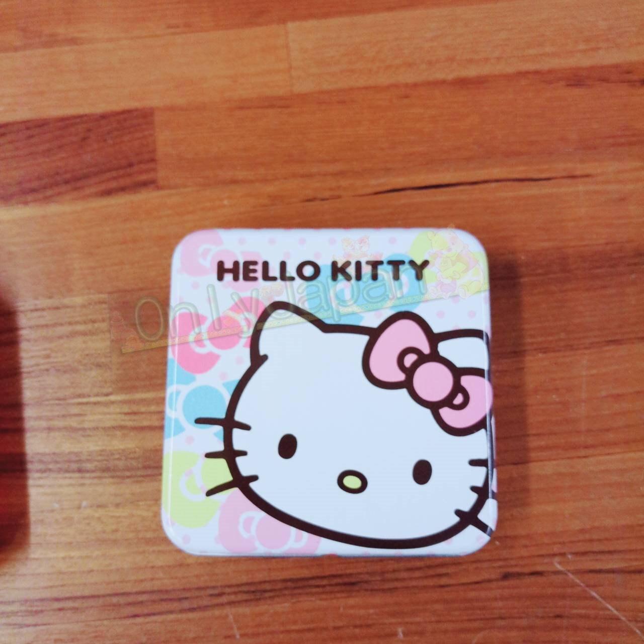 19020100094 便條紙小方鐵盒-KT大臉彩結 凱蒂貓kitty memo紙 便籤 辦公室小物 便條紙 文具 真愛日本