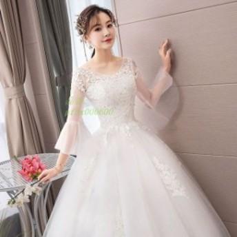 ホワイトドレス 花嫁 ウェディングドレス Vネック フレア袖 結婚式 披露宴 ブライダルドレス ドレス 大きいサイズ 長袖 Aラインドレス