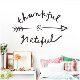 ウォールステッカー 壁装飾 ステッカー 文字 矢印デザイン thankful grateful おしゃれ インテリア