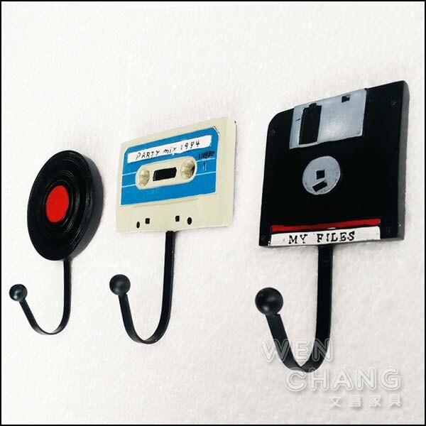 復古 黑膠磁帶造型掛勾 衣架 三個一組 適合商業空間 住宅 Z027-A 《特價》 *文昌家具*