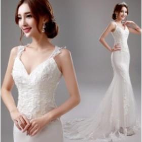 結婚式ドレス マーメイドドレス Vネック ウェデイングドレス レース 刺繍 チュール 花嫁 ブライダルドレス トレーンドレス