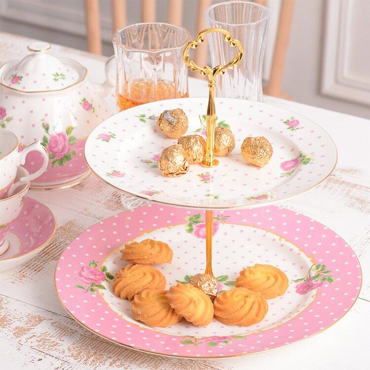 骨瓷英式下午茶點心架 蛋糕架 雙層水果盤點心架-粉色點點玫瑰款