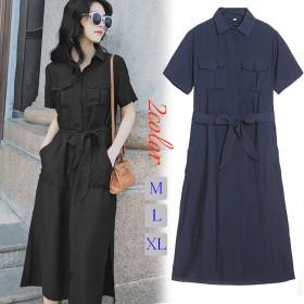 ◆2019春夏人気新品 韓国ファッション 春夏の 大きいサイズ 半袖 ロングワンピ コットンリネン 、ワンピース Vネック