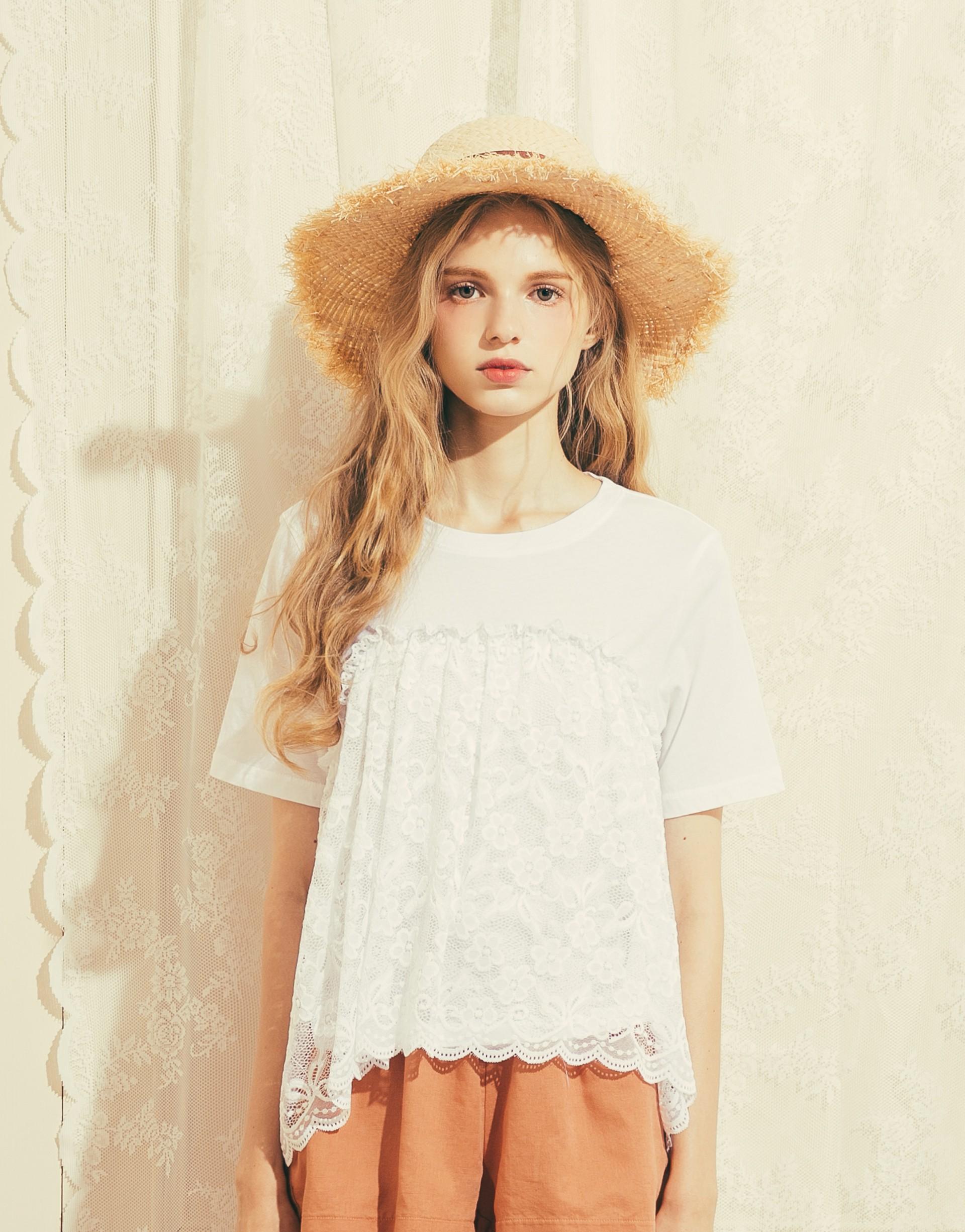 sweet heart蕾絲短袖上衣-PAZZO