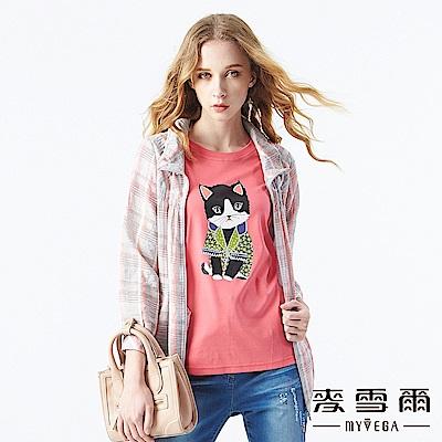 【麥雪爾】優雅粉嫩格紋薄外套