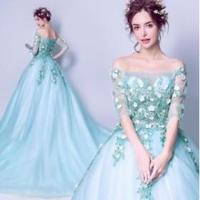 ボートネック 姫系 ドレス 刺繍花柄 チュール ウェデイングドレス スタイリッシュ パーティードレス 結婚式 花嫁 トレーンドレ