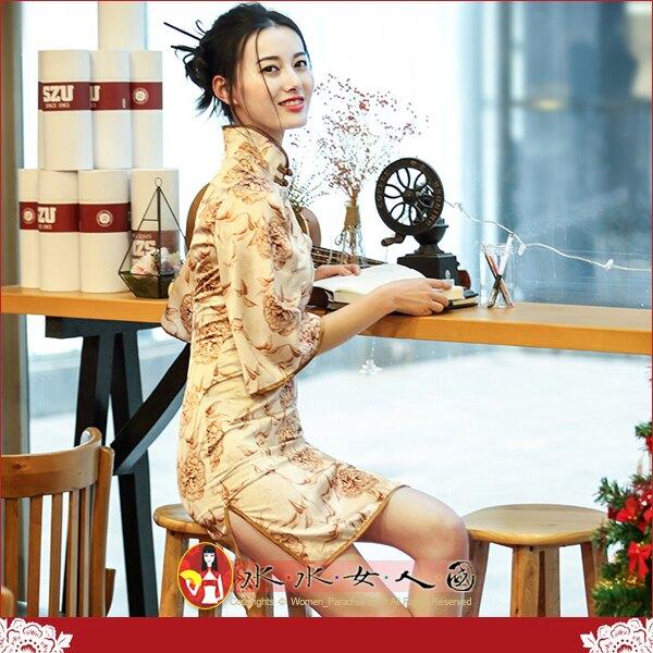 【水水女人國】~優雅中國風~陽光普照~落櫻繽紛。復古牡丹印花時尚改良式喇叭七分寬袖旗袍