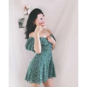 春 夏 オールインワン サロペット スカート風パンツ ショートパンツ 半袖 Vネック 花柄 グリーン 緑 オールインワンパンツ リゾート 海