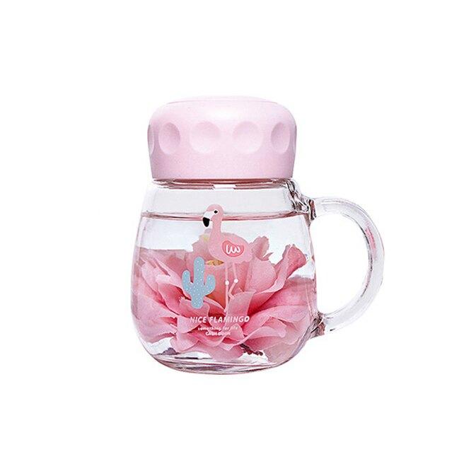 韓國ins 玻璃杯 IG打卡 水壺 紅鶴 少女心 小清晰 網美拍照必備 辦公室療癒小物