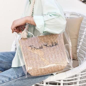 【送料無料】草編み 透明 クリアバッグ 2点セット 鞄 大容量 可愛い 大人 無地 ビーチバッグ ショルダーバッグ 手提げ 肩掛け