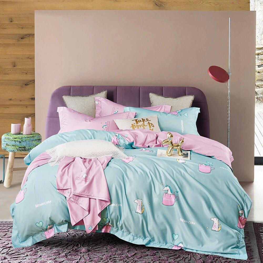 涼感天絲/雙人兩用被套床包 【類似愛】 50%天絲鋪棉被套 床包四件組 PureOne