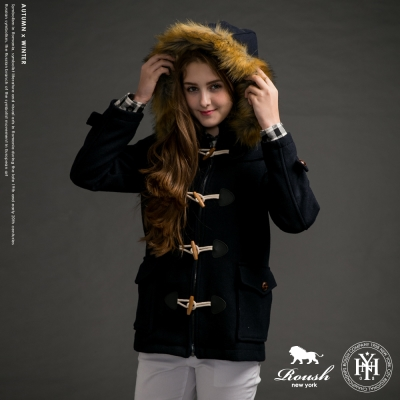 ROUSH 女生木釦毛帽毛呢短大衣 (2色)