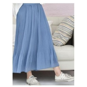 Emsexcite 柄プリーツスカート ブルー