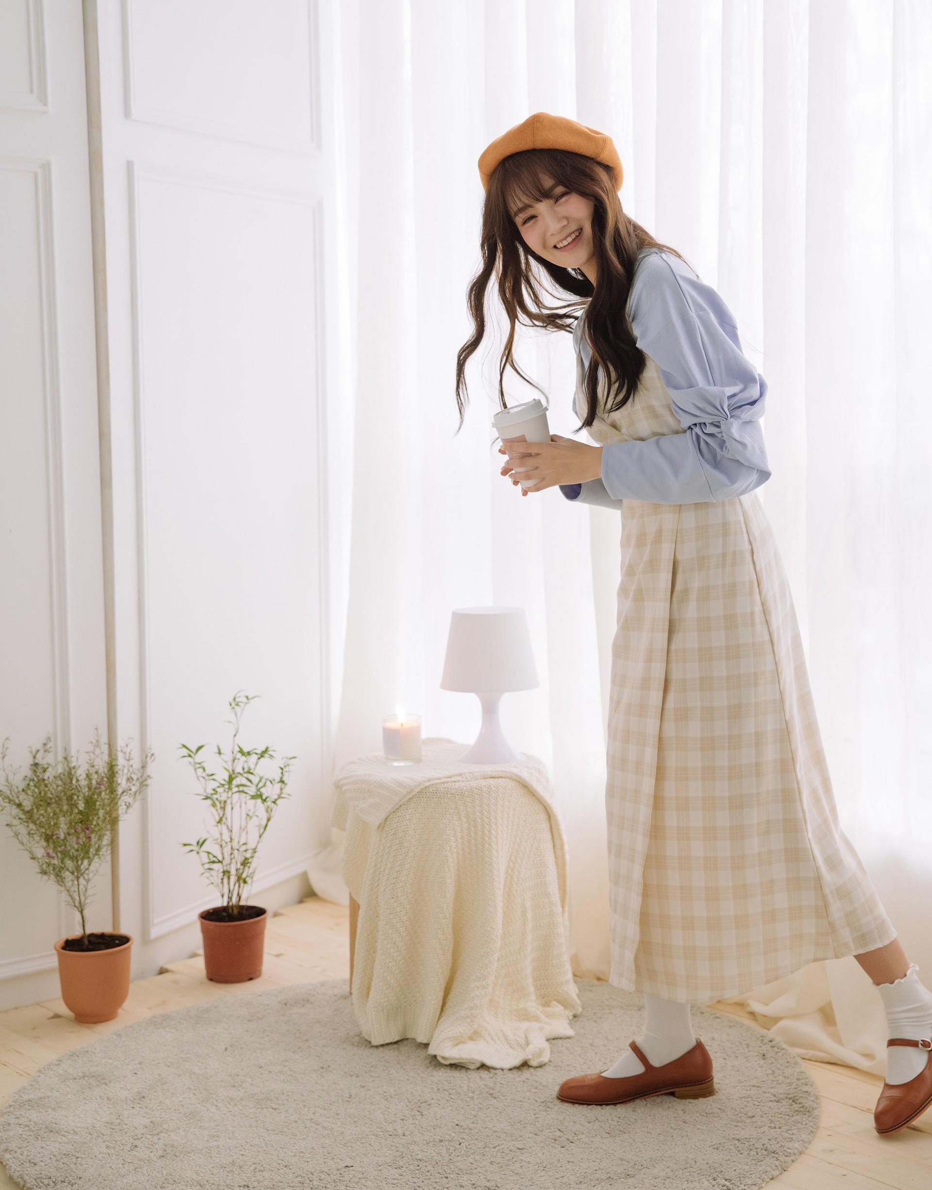 PAZZO+格紋細肩一片裙式洋裝