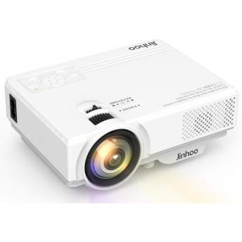 Jinhoo ホームプロジェクター 2400LM 1080PフルHD対応 800480解像度 HDMIケーブル付属 パソコン/スマホ/タブレット/ゲーム機など接続可 USB/SD/HDMI/AV/VGA対応