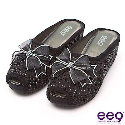 ee9 瞬間激增隱藏式內增高楔型跟魚口拖鞋 黑色