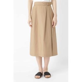 HUMAN WOMAN ヴィンテージワッシャータックスカート ひざ丈スカート,ベージュ