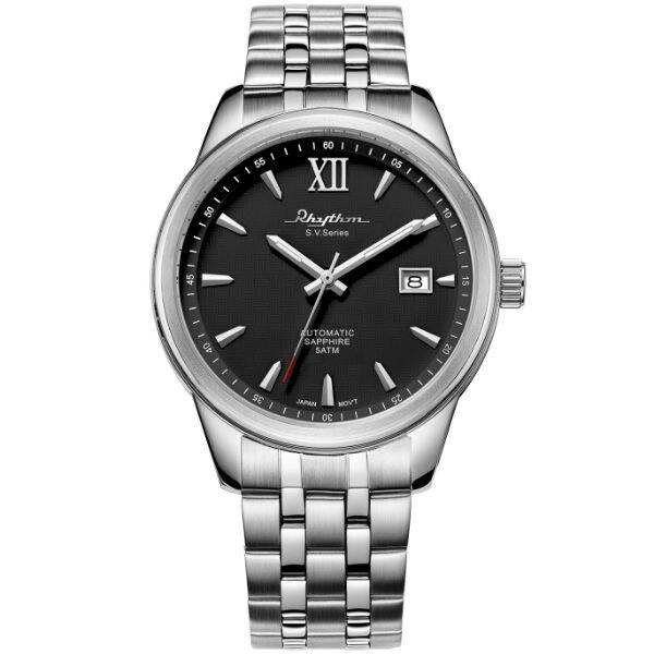 Rhythm 日本麗聲鐘時針 簡約流行自動機械腕錶 (AS1611S02) 黑x銀 / 35mm