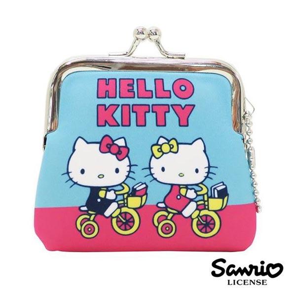 藍色款【日本進口】凱蒂貓 Hello Kitty 小型 防震棉 珠扣包 零錢包 三麗鷗 Sanrio - 439484