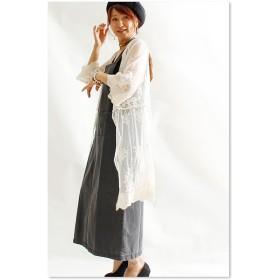 カーディガン - Sawa a la mode ひらり繊細な透け感を羽織。トップス カーディガン ボレロ 七分袖 ミディアム丈 ホワイト white 白 綿 春夏レディースファッション ナチュラル otona kawaii フリーサイズ F Fサイズ M L LL Mサイズ Lサ