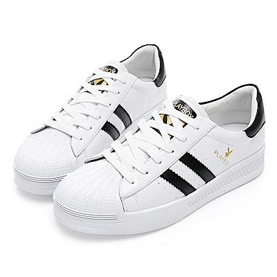 PLAYBOY 潮流簡約皮料拼接休閒鞋-白黑