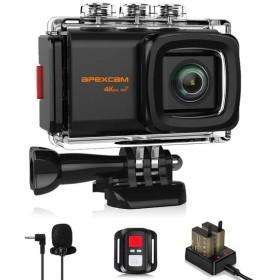 Apexcam M80 EIS アクションカメラ 4K高画質 2000万画素 40M防水 水中カメラ 手振れ補正 170度広角レンズ WiFi搭載 外部マイク 高品質1050mAh充電式バッテリ