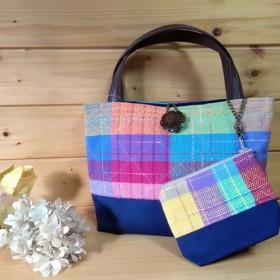 iPadサイズの手織りトートバッグ(カラフル)