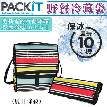 ✿蟲寶寶✿【美國 PACKiT】 冰庫野餐冷藏袋 可保冰10小時 夏日條紋
